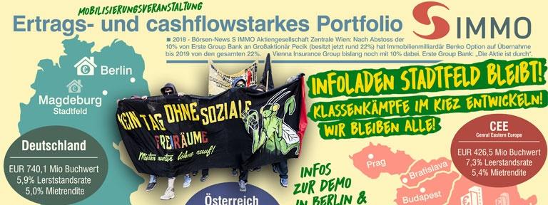 Plakat Infoveranstaltung und Demo gegen S IMMO
