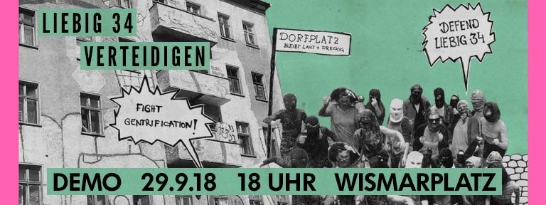 Banner - Liebig 34 verteidigen Demo