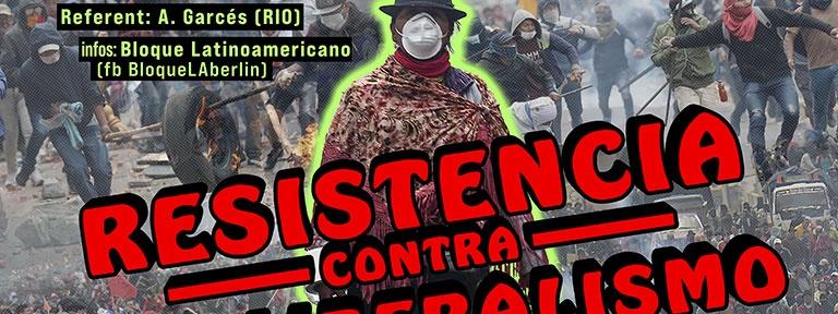 Plakat Ecuador Resistencia contra Neoliberalismo