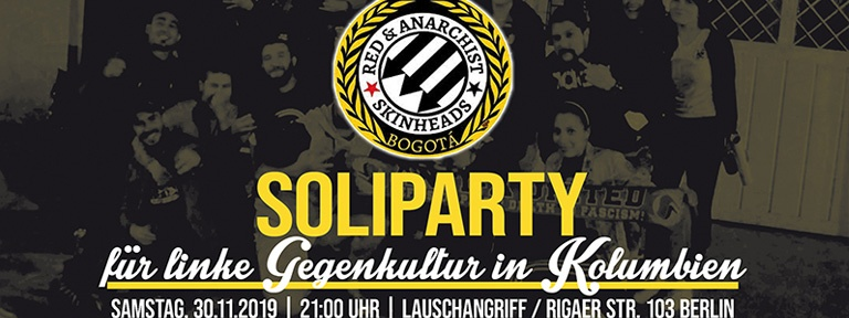 Plakat Party 30.11.2019 für linke Gegenkultur in Kolumbien