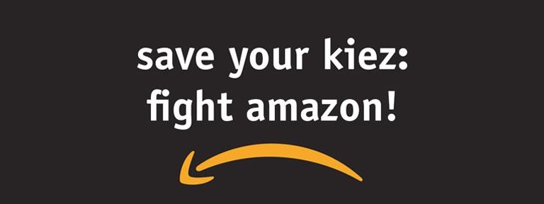 save your kiez - fight amazon, with amazon arrow backwards