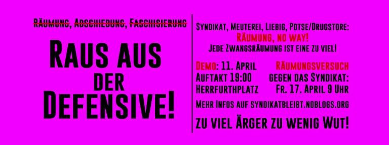 Plakat zur Demo am 11.04.2020 Raus aus der Defensive