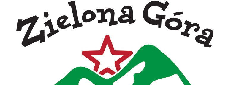 Logo Stadtteilladen Zielona Góra mit roten Stern und gründen Bergen