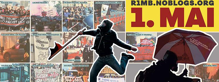 Plakat zum Revolutionären 1. Mai 2021 in Berlin - mit Bildern von lokalen Kämpfen in Zeiten von Corona