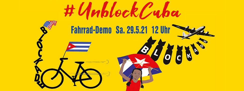 Banner Fahrrad-Demo UnblockCuba