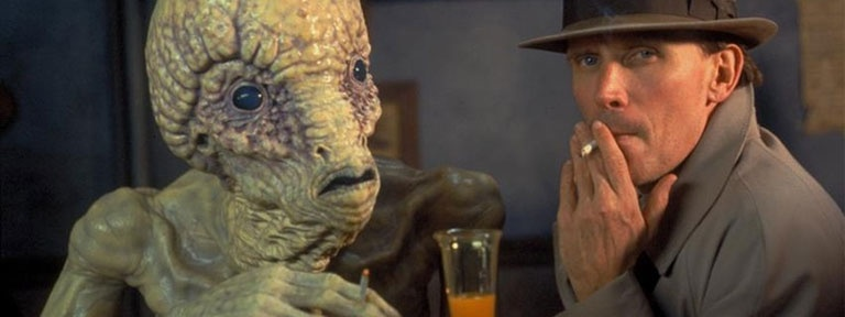 Naked Lunch Movie Scene - Drinking with an alien from interzone in bar