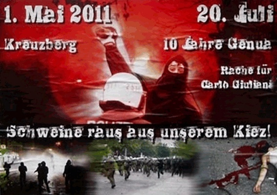 2011 Anarchistisches Plakat in Gedenken an Carlo Guiliani 10 Jahre Genua